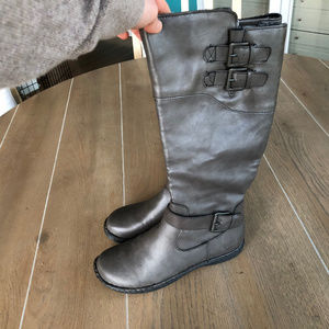 Born Shoes - BOC by Born Sz 8.5 M Gray Leather Knee High Boots